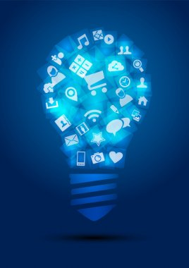 Social media idea concept light bulb