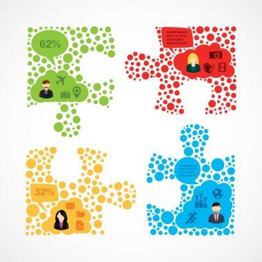Social media team work puzzle infographic