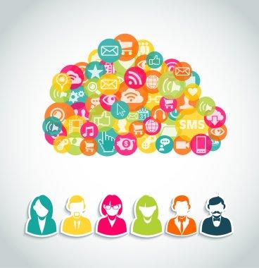 Social media cloud computing concept