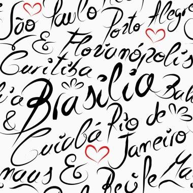Travel Brazil destination words seamless pattern