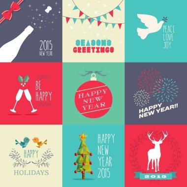 New year 2015 flat design set