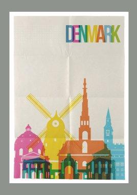 Travel Denmark landmarks skyline vintage poster