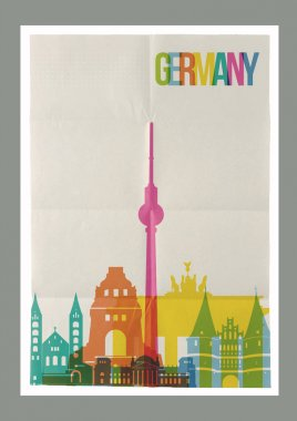 Travel Germany landmarks skyline vintage poster