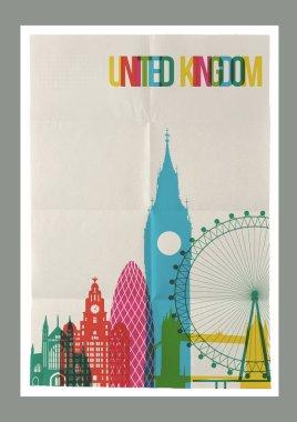 Travel United Kingdom landmarks skyline vintage poster