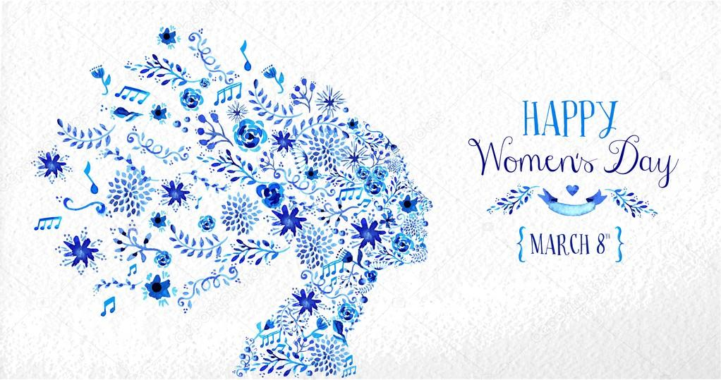 Happy Women day vintage flower illustration