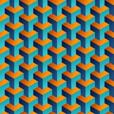 Isometric 3d shapes seamless pattern background