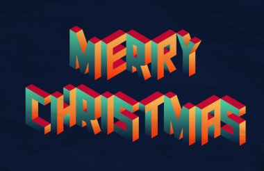 Isometric Merry Christmas quote background