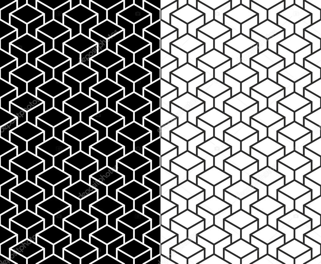 Isometric 3d line cube pattern background — Stock Vector ...
