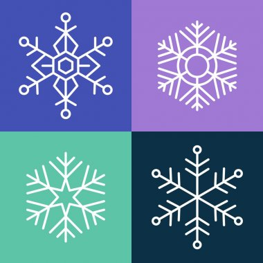 Snowflake line style set illustration