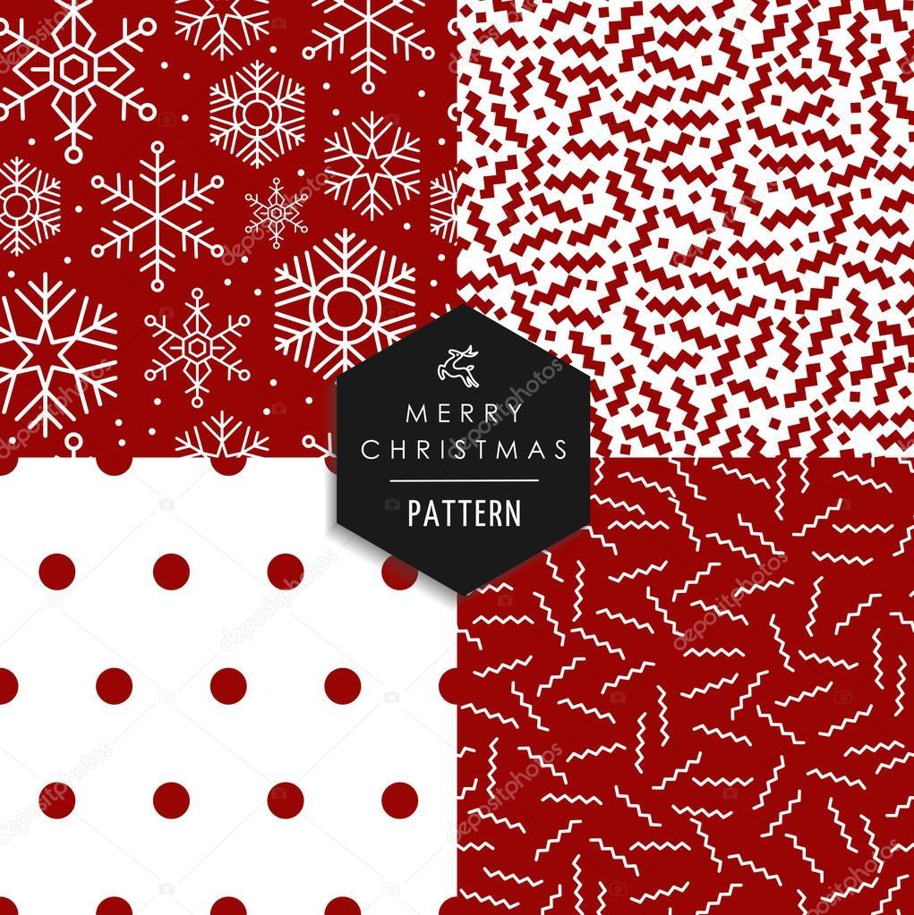 Merry Christmas 80s retro seamless pattern set — Stock Vector ...