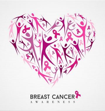 Breast cancer awareness pink ribbon women heart