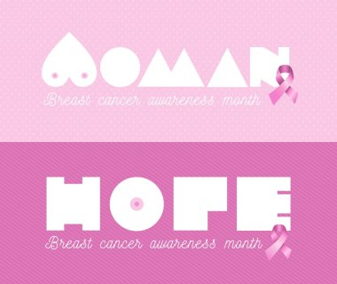 Woman breast cancer awareness pink banner set