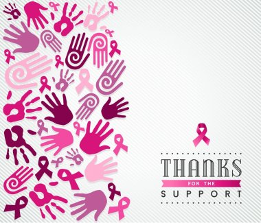 Breast cancer campaign poster pink hand ribbon
