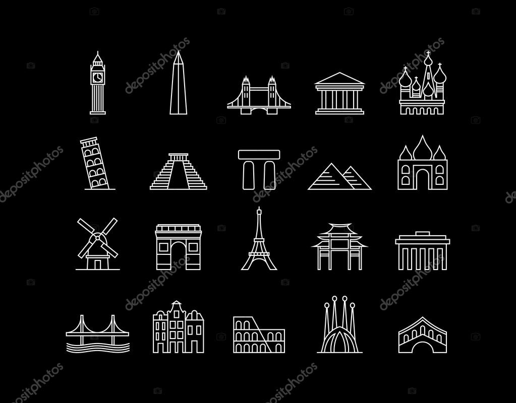 International landmark simple line art icon set