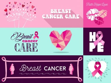 Breast cancer awareness campaign graphic elements set