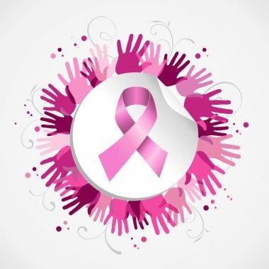 Breast cancer awareness ribbon hand social badge
