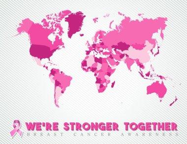 Breast cancer worldwide map global pink united