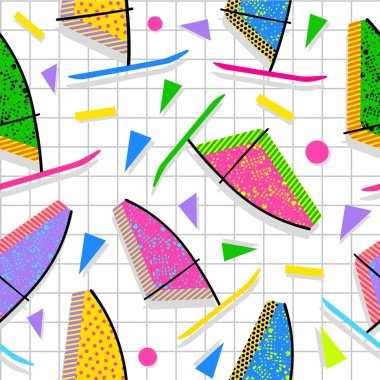 Retro vintage summer fun 80s pattern background