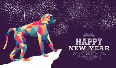 Happy chinese new year monkey 2016 triangle color
