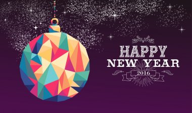 Happy new year 2016 bauble triangle hipster color