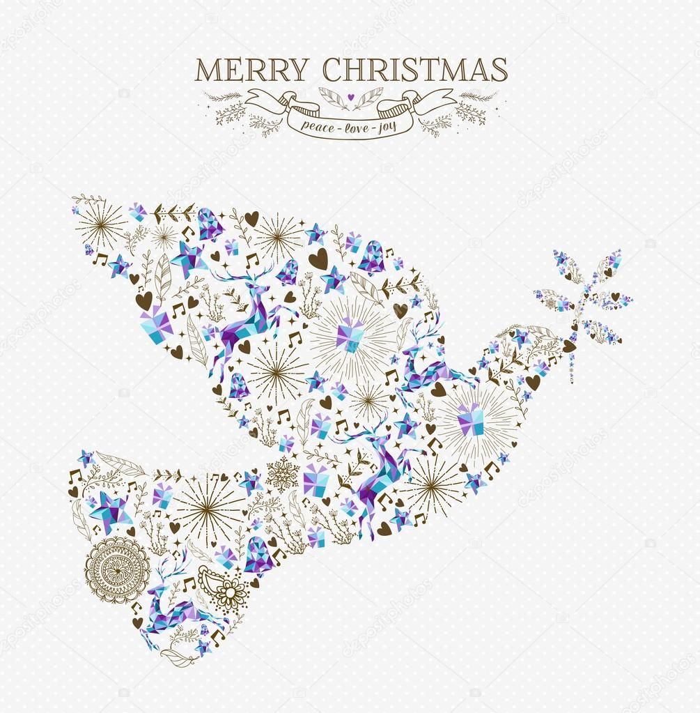 Merry christmas peace dove vintage holiday element