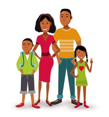 Happy family people flat illustration