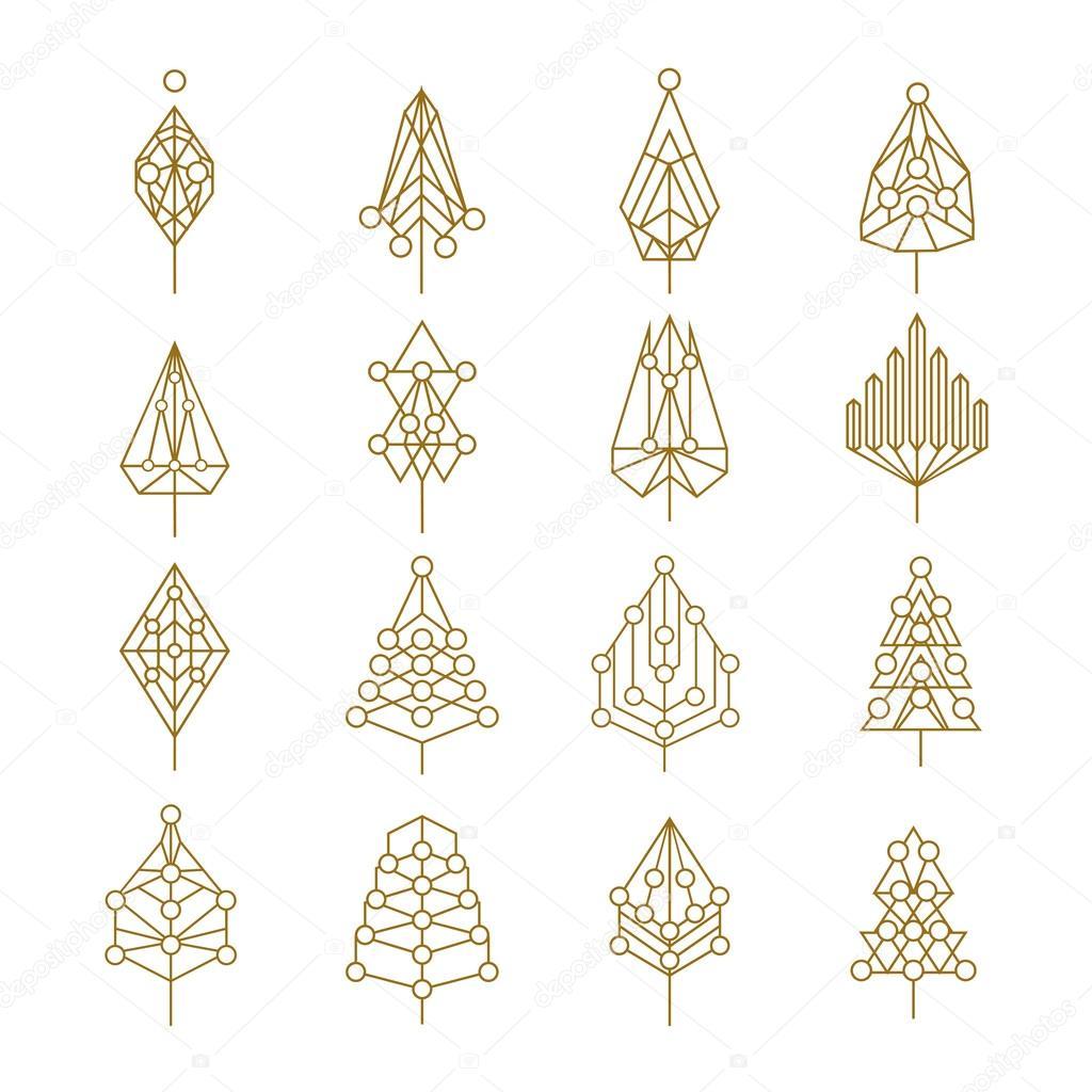 Christmas geometry abstract outline pine tree set