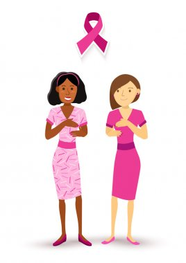 Breast cancer awareness women check up pink ribbon