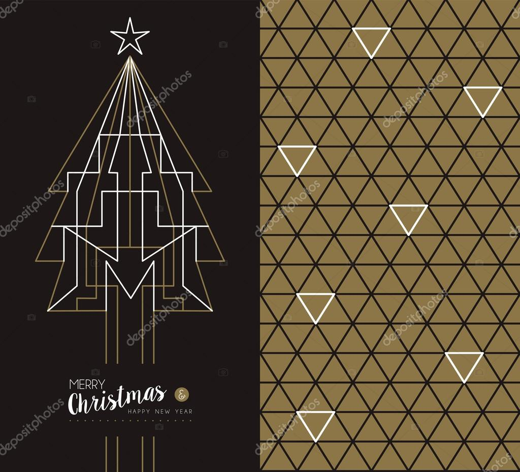 merry christmas new year art deco set holiday card stock vector