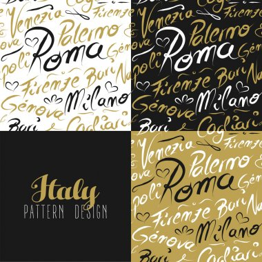 Travel italy city seamless pattern gold milan