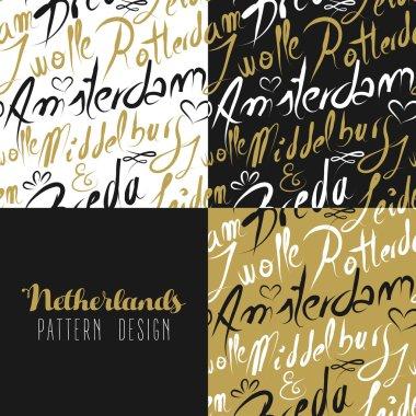 Travel netherlands europe gold seamless pattern