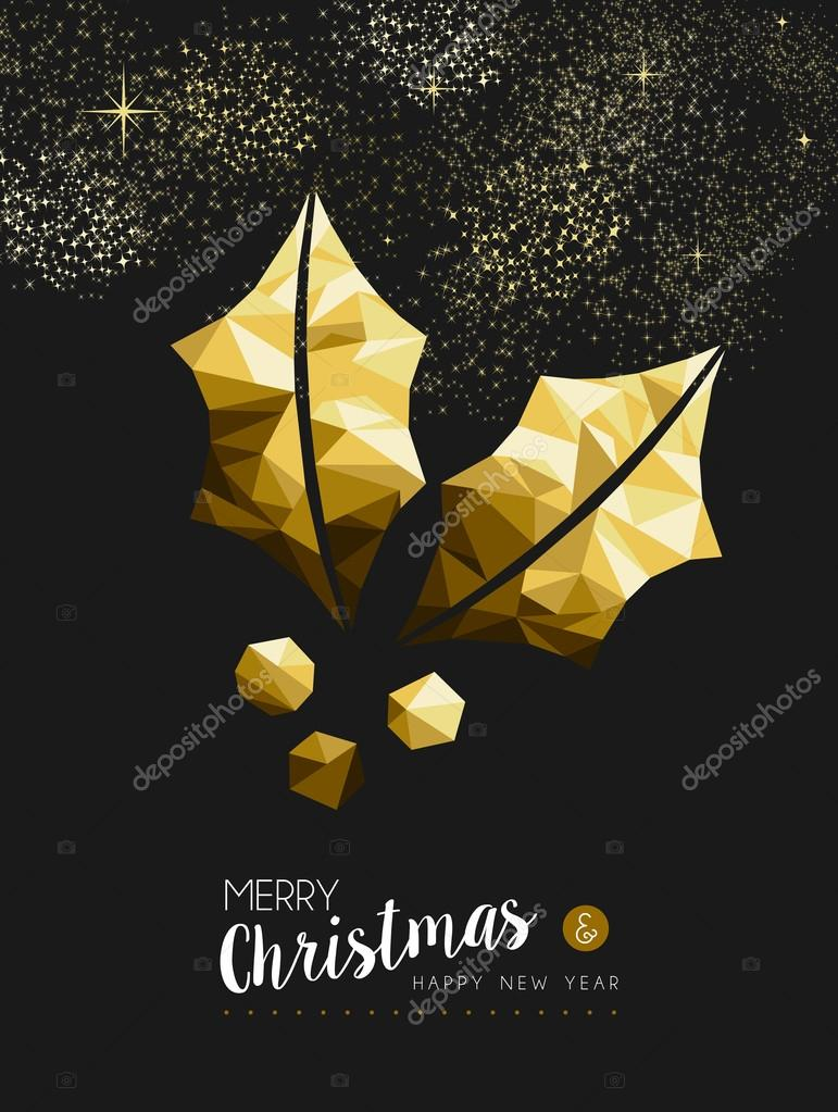 merry christmas and happy new year fancy gold holly plant in hipster triangle style ideal for xmas greeting card or elegant holiday party invitation
