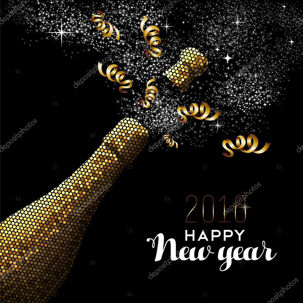 Happy new year 2016 gold drink bottle party mosaic vetor de stock happy new year 2016 fancy gold champagne bottle celebration in mosaic style ideal for holiday card or elegant party invitation eps10 vector stopboris Gallery