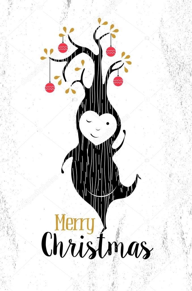 Frohe Weihnachten Schwarz Weiß Elf Weihnachten Retro Stockvektor