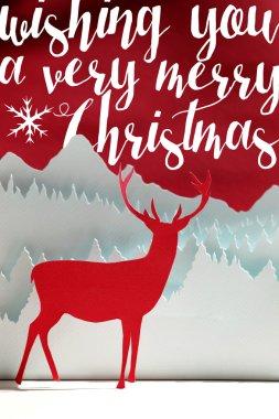 Merry Christmas winter paper cut art deer card