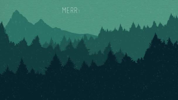 Veselé Vánoce a šťastný nový rok animace karta