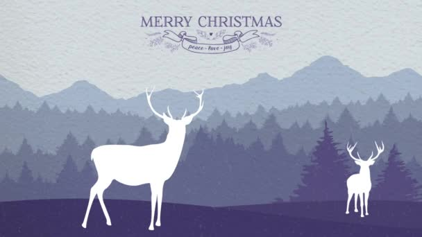 Merry christmas deer winter card animation