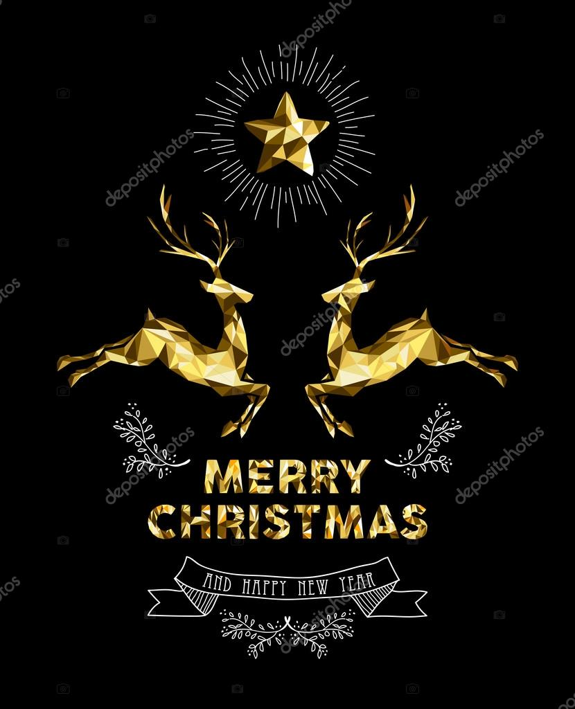 christmas new year gold label elegant deer holiday stock vector
