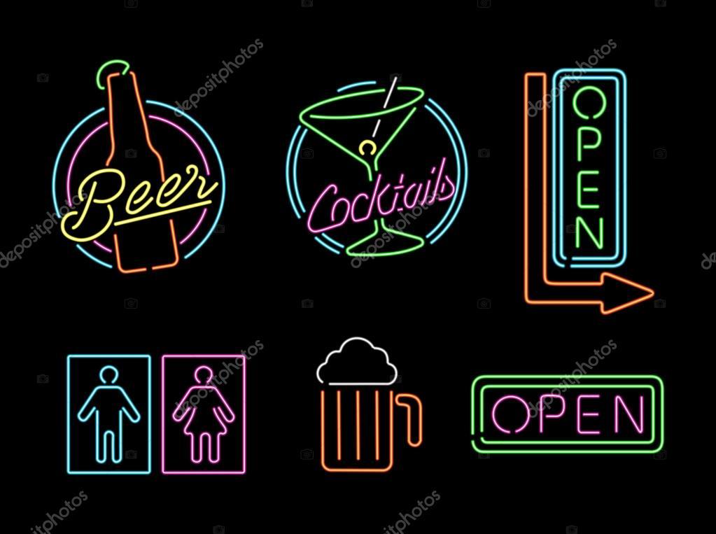 Luz de nen signo establece icono retro bar abierto etiqueta de la luz de nen signo establece icono retro bar abierto etiqueta de la cerveza archivo imgenes aloadofball Image collections