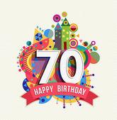 alles Gute zum Geburtstag 70 Jahre Grußkarte Posterfarbe