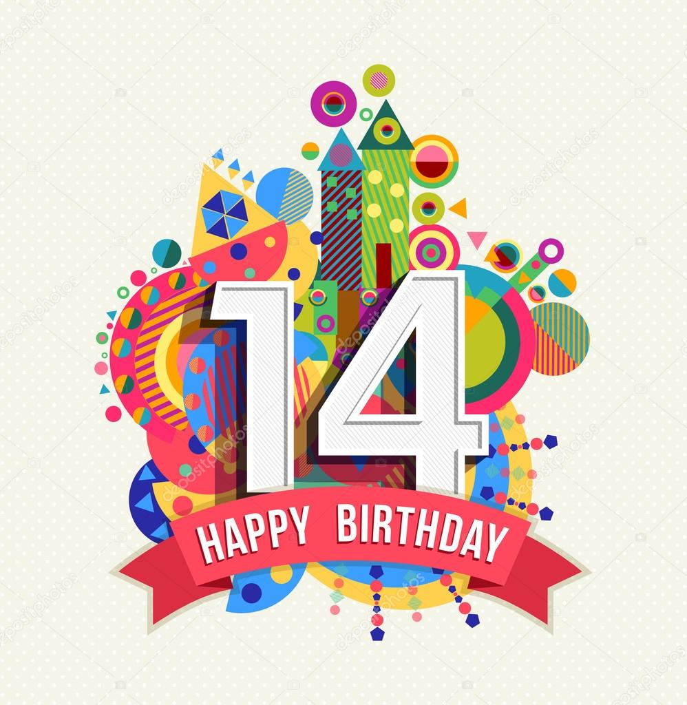 Happy birthday 14 year greeting card poster color — Stock ...