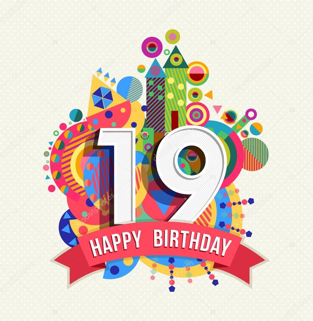 boldog 19 születésnapot Boldog születésnapot 19 év üdvözlőlap poszter szín — Stock Vektor  boldog 19 születésnapot