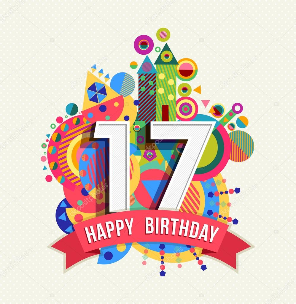 17 Verjaardag.Happy Birthday 17 Year Greeting Card Poster Color Stock