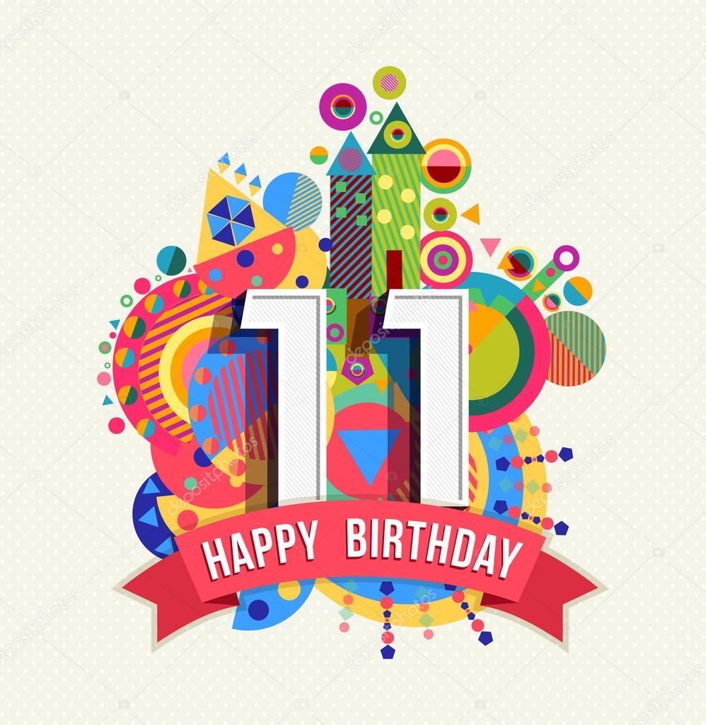 přání k 11 narozeninám Všechno nejlepší k narozeninám 11 rok přání plakát barva — Stock  přání k 11 narozeninám