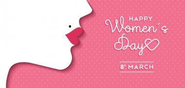 Women's Day design with girl face and text label