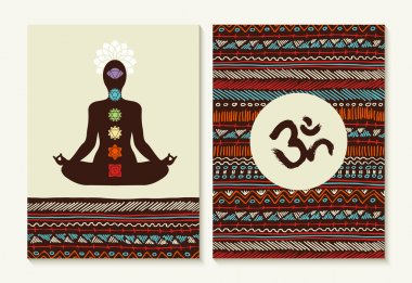 Yoga concept set boho background and chakra icons