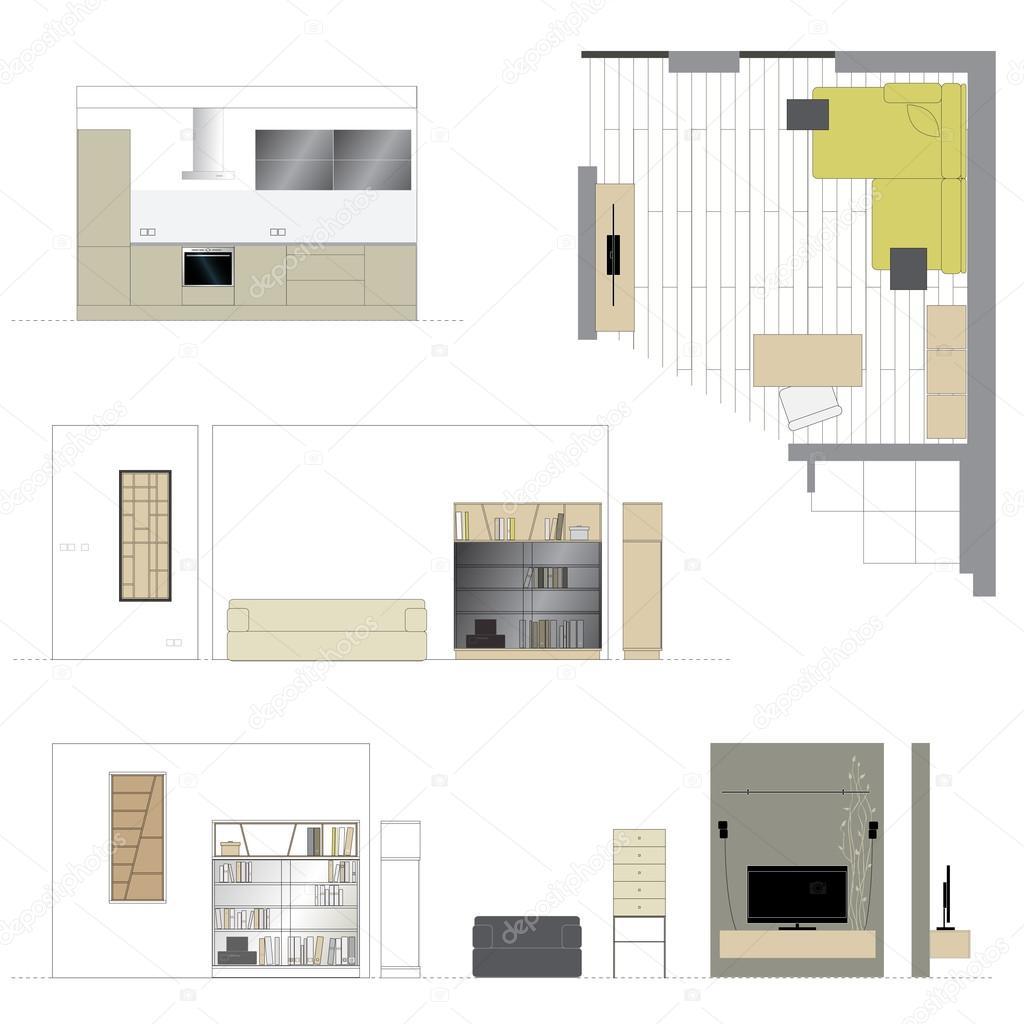 Mobili soggiorno di design arredamento d 39 interni scala vettoriali stock lakalla - Programma per disegnare mobili gratis ...