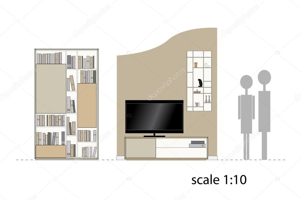 meubilair. ontwerp woonkamer. interieur meubilair. schaal 1:10 ...