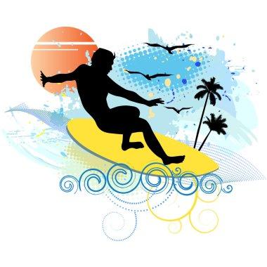 Surfing - vector illustration