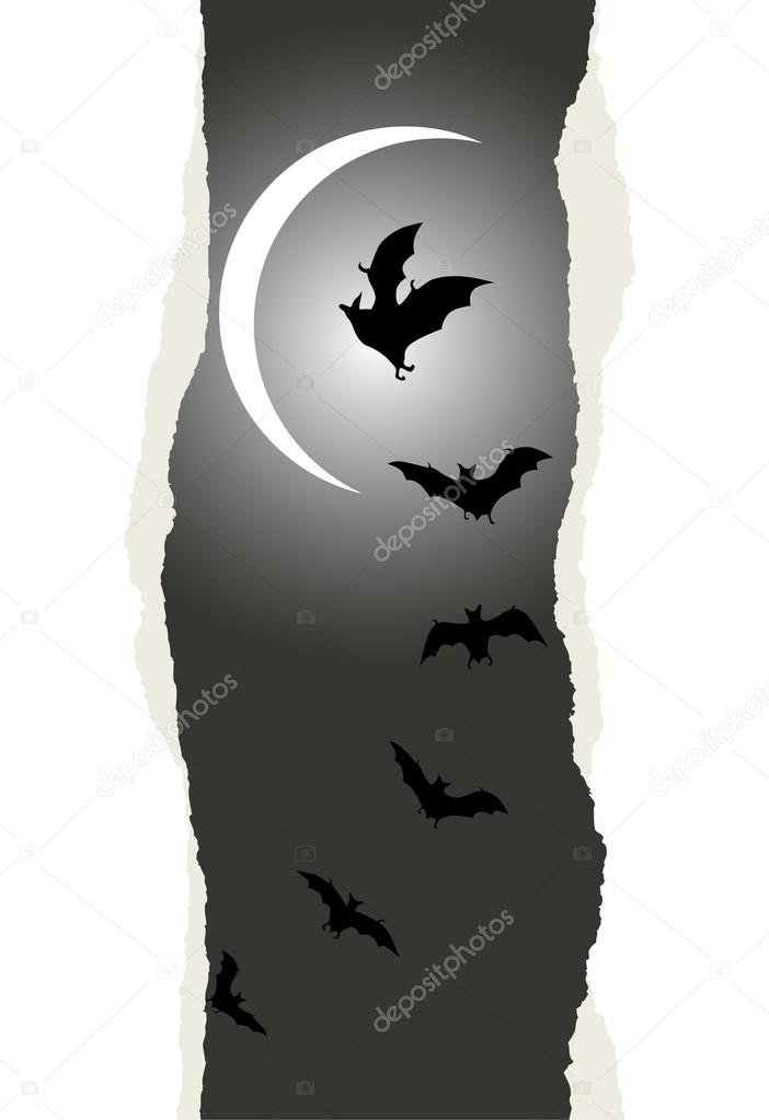 Halloween background with flying bats